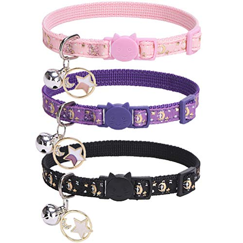 PUPTECK Breakaway Cat Collar with Bell 3 Pack - Charming Luminous Safe Adjustable Moon Pattern Kitten Collars with Star Pendant, Glow in The Dark