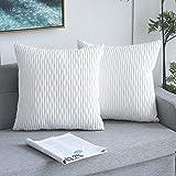 Yeadous - Juego de 2 fundas de cojín decorativas de rayas blancas para sofá cama, diseño clásico de rayas onduladas, 45 x 45 cm, 45 x 45 cm, juego de 2 unidades