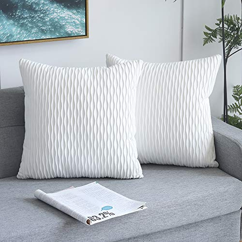 Yeadous White Striped Decorative Cushion Covers for Sofa Couch Bed, Classic Velvet Wavy Stripes Throw Pillow Cases, 18x18 inches, 45x45cm, Set of 2