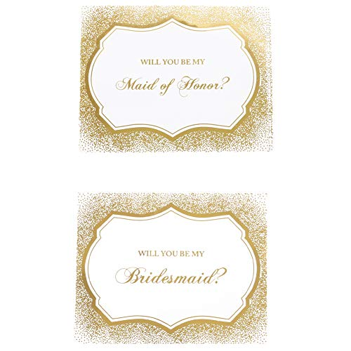 Andaz Press Bridesmaid Proposal Wine Labels, Real Gold Foil Waterproof Stickers, Set of 8 Pack Champagne Label Stickers, Includes Maid of Honor and Bridesmaid Proposal Stickers for Mini Bottle