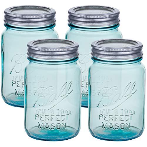 Ball Mason Jars 16 oz Regular Mouth Turquoise Colored Glass Bundle with Non Slip Jar Opener- Set of 4 Pint Size Mason Jars - Canning Glass Jars with Lids