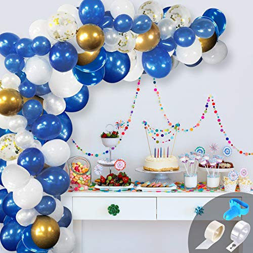 GRESAHOM Balloon Garland Kit, 120PCS Blue White Gold Latex Party Balloon Arch Kit with Gold Confetti Balloons for Birthday Wedding Baby Shower Party Decorations