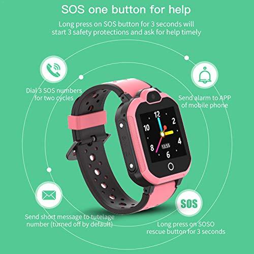 PTHTECHUS Kinder Smartwatch Wasserdicht IPX7, unterstützt 4G GPS Präzise Positionierung Tracker, mit SOS, Videoanruf, Voice Chat, Anruf, Remote-Fotografie, GEO-Zaun(Rosa)
