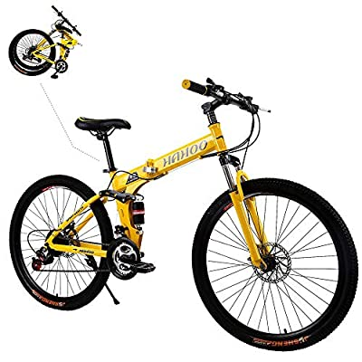TOUNTLETS 26 Inch Full Suspension Mountain Bike Road Bike City Commuter Bicycle with 21 Speeds Dual Disc Brakes Folding Bike Non-Slip Bike City Riding ​​Bicycle for Mens/Womens (Yellow)