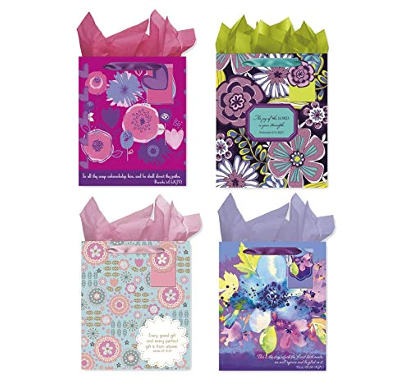 Christian Birthday Gift Bags with Tissue Paper - 4 Bible Verse Bags with Tissue