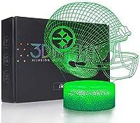 XKUN 3D Light for Kids,3D Lamp Led Night for Kids Football Helmet New Orleans Saints Flat, 8 16 6 Year Old Girl Gifts, 9 8 16 Years Boys Birthday,Pittsburgh Steelers Flat