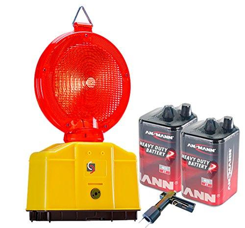 UvV-Shop Baustellenleuchte, LED, Warnleuchte rot- mit Secura-Halter, inkl. 2 x 6 Volt Batterien und 1 x Lampenschlüssel
