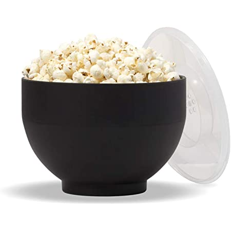 Amazon Com W P Microwave Silicone Popcorn Popper Maker Black Collapsible Bowl W Built In Measuring Cup Bpa Free Eco Friendly Waste Free 9 3 Cups Of Popped Popcorn Kitchen Dining