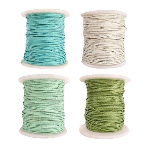 4 Rolle Baumwollschnur Gewachst 1MM 80 Meter Wachsschnur Baumwollkordel Kordel für Schmuckherstellung - Farbe 4