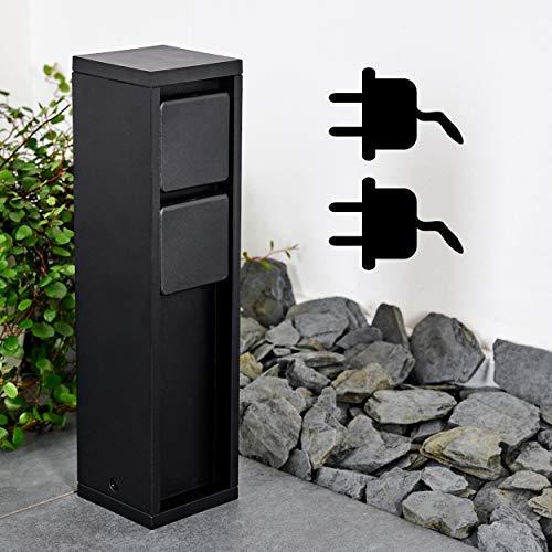 Außensteckdose Amersroort, Steckdosensäule aus Metall in Schwarz, 2-fach Steckdose für den Aussenbereich, modernes Design, max. Leistung 3600 Watt, für den Anschluss von Lampen im Garten, IP54