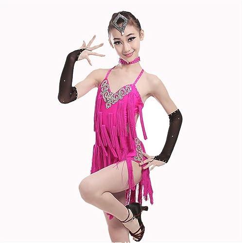 Robes Activewear Filles Filles Enfants Enfants Frange Perforhommece Costume De Salle De Bal Salsa Tango Tassel Robe De Danse Latine (Couleur   Rose, Taille   140)