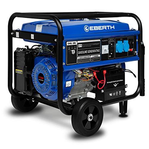 EBERTH 5500 Watt Benzin Stromerzeuger mit Fahrwerk (E-Start, Automatischer Voltregler AVR, 13 PS Benzinmotor, 4-Takt, luftgekühlt, Ölmangelsicherung, Seilzugstart, 1-Phase, 2x 230 V, 1x 12 V)