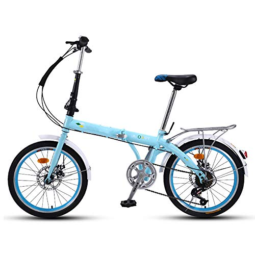 QIANG Bicicleta Plegable para Mujeres Bicicleta Ligera De Aleación De Aluminio De 20 Pulgadas Doble Disco De 7 Velocidades Marco De Acero Al Carbono Unisex Guardabarros Delantero + Trasero,Blue