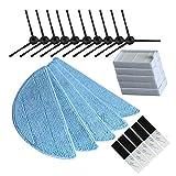 NICERE Partes de aspirador reemplazos 10x cepillo lateral+5X filtro hepa+5xMop paño+5xmagic pasta Accesorios para ilife v5s ilife v5 pro x5 V5 V3 V50 Partes de aspirador