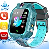Waterproof Kids Smart Watch - GPS Tracker Smartwatch Phone for Boys Girls - Smart Watch with SOS Two-Way Call Games Touch Screen Digital Wrist Watch Holiday Toys Birthday Gifts (Black)