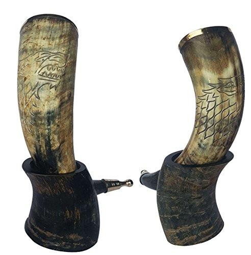 Cuerno vikingo para beber con borde de latón Pomo de latón y LATHER tira en soporte