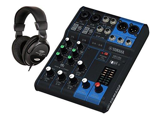 Yamaha MG06 Mischpult SET inkl. Kopfhörer (kompakter Mixer, 6-Kanal Konsole, 1 Stereo Bus, 48V Phantomspeisung, XLR Ausgang)