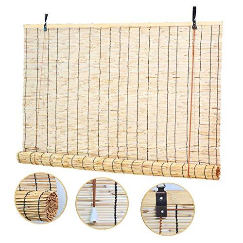 ZHUOZ1T Tende avvolgibili-Tende a Rullo in bambù-Tenda a Canna,Tapparella Decorative Vintage Tessute a Mano,Persiane di Sollevamento Parasole,per Esterni/Interni/Balcone/Finestre(100x220cm/39x87in)