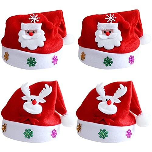 ZRWLZT 4 Piezas Gorro de Papá Noel Gorro de Navidad para Adultos Gorro Papá Noel de Navidad de Santa Gorro de Navidad de Felpa Suave, Gorro Navideño para Niño, Reno de Papa Noel Sombrero