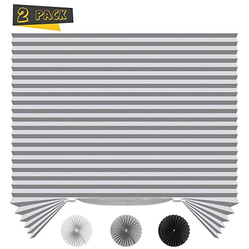 SEEYE Light Filtering Temporary Blinds Cordless Shades Fabric Pleated Fabric Shade Easy to Cut and Install, 36' W x 72' L - 2 Pack, Grey,with 4 Clips