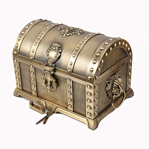 ZHJC Vintage Schmuck Geschenkbox Metall Maxi-Multi-Layer-europäischen Stil Retro-Schatz-Kasten mit Verschluss Hochzeit Schmuckaufbewahrung Retro Sammler (Farbe : Bronze, Size : 38X25X24CM)