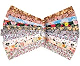 10 Pieces 1.25 x 78 inches Sewing Bias Tape Cotton Assorted Fabric Long Cotton Tape, Double Fold Bias Tape for Sewing, Seaming, Binding, Hemming, Piping, Quilting, 10 Floral Patterns
