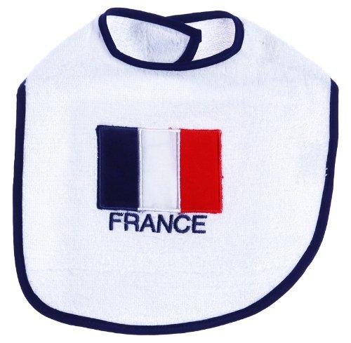 Bavoir bébé drapeau de la France King bear blanc/bleu