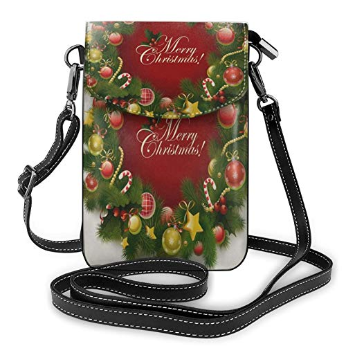 Merry Christmas Garland Unique Small Crossbody Cell Phone Case Purse Bags Unique Pouch Womens Girls