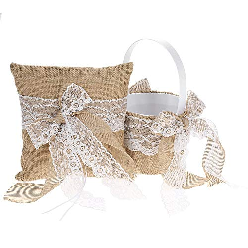 Decdeal Bowknot Ring Bearer Pillow and Rustic Wedding Flower Girl Basket Set 7 x 7 inches