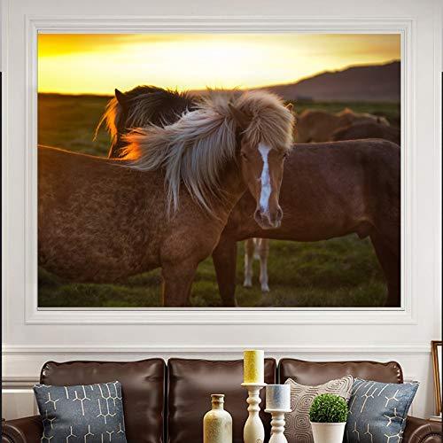 Pster de Mural de animales moderno, pintura de caballo, impresin en lienzo, amanecer, sala de estar, sin marco, pintura decorativa en lienzo N25 40x60cm