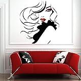 WALSITK Pin Up Girl Women Modern Hair Salon Etiqueta de la Pared Decal Mural Transfer 57x63cm...