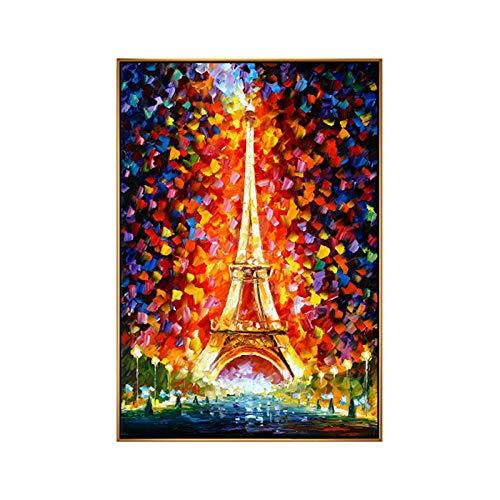 Ölgemälde Auf Leinwand Handgemalt, Moderne Abstrakte Große 3D-Landschaft Malerei, Bunte, Mit Blumenmustern Paris Eiffel Tower, Handgefertigte Wand Kunst Dekor Für Haus Wohnzimmer Schlafzimmer Bür