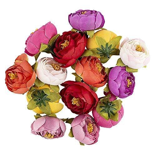 Ideen mit Herz Deko-Blüten, Kunstblumen, Blüten-Köpfe, Verschiedene Sorten, ca. Ø 4-5 cm (Ranunkel - bunt - 14 Stück)