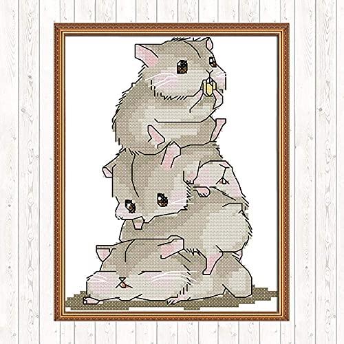 YOFUHOME Kits de Punto de Cruz Five Hamsters Gama Completa de Patrones Kits de Inicio de Bordado para Adultos Principiantes y niños Kits de Punto de Cruz Impresos de 11 Quilates de Bricolaje 40X50Cm