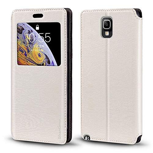 Schutzhülle für Samsung Galaxy Note 3 Neo LTE+ N7505, luxuriös, Holzmaserung, Leder, Kartenfach, Sichtfenster, weiß