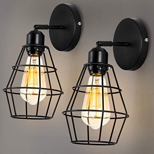 ENCOFT 2er Pack Wandlampe Vintage Industrial E27 Wandleuchte rustikal wandleuchte innen Industrial Metall schwenkbar für Schlafzimmer Wohnzimmer Esstisch(Ohne Leuchtmittel) (Style 2, 1)