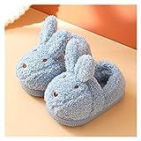Youpin Pantuflas para bebé, diseño de conejo, animado, invierno, para interiores, para el hogar, para niños y niñas, de piel suave y cálida (color: azul, talla de zapato: plantilla 31 32 de 19,5 cm)