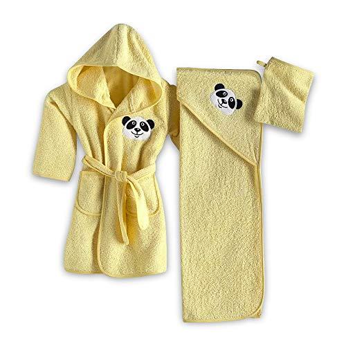 Accappatoi di Cotone per Neonati e Bambini da 1 a 3 Anni set 3 pezzi Asciugamano di Prima Qualità per Bambini, Durevole, Extra Soffice, Cotone al 100%