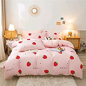 Girls Strawberry Bedding Set Queen Size Sweet Strawberry Duvet Cover Set For Kids Pink Cute Cartoon Fruit Food Theme Comforter Cover Set Girly White Floral Bedspread Cover Reversible Soft With Zipper