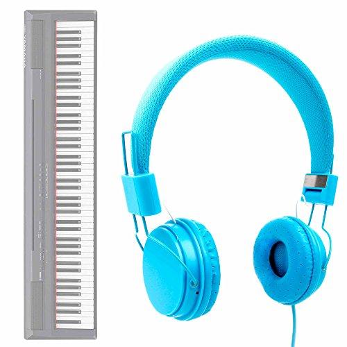 DURAGADGET Auriculares De Diadema En Azul para Teclado/Piano Eléctrico Yamaha NP-V80 NPV-80, Yamaha P-105B, Yamaha P-115B, Yamaha P-115WH, Yamaha P-45B