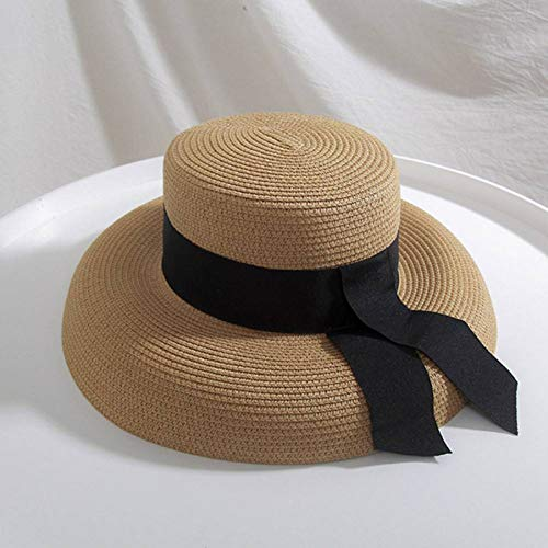 WREIJH Ymsaid Women's Sun Hat Summer Beach Straw Hat Women Boater Hat with Ribbon Tie for Vacation Holiday Audrey Hepburn,Khaki