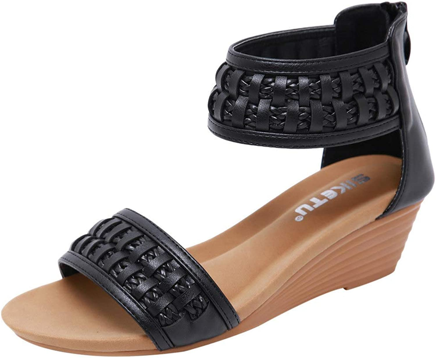 T-JULY Women's Casual Zipper Single shoes Women's Braided Bohemian Wedges Sandals Comfortable Sandal