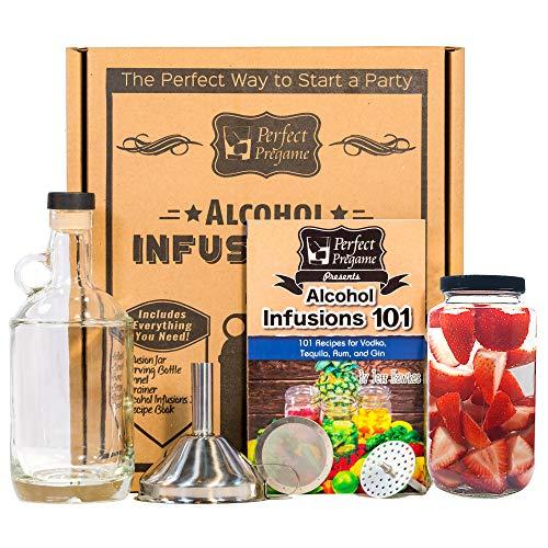 Perfekt Pregame Alkohol Infusion-Kit–Make your own Homemade-Likör Infusions Geschenk Set, inkl. Flaschen und Alkohol Infusions 101W/Rezepte für Wodka Gin Rum und Tequila Infusions und Cocktails