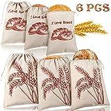 6 Paquetes Bolsas de Pan de Lino Bolsas de Pan Natural sin Blanquear Grande Bolso de Cordón Reutilizable para Pan, Almacenamiento de Pan Casero, Almacenamiento de Alimentos, 2 Tamaños