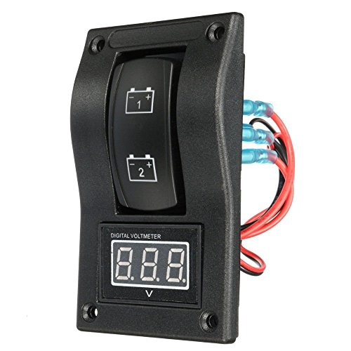 SODIAL 12-24 V LED Dual Batterie Test Panel Wippschalter Auto Lkw Marine Boot Voltmeter 4 P ON-OFF-ON