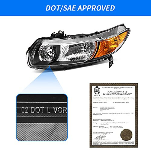DWVO Headlight Assembly Compatible with 2006-2011 Honda Civic 2-Door Coupe Black Housing Clear Lens Amber Reflector - Driver and Passenger Side