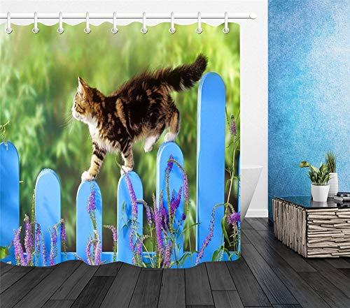 LGY Katze, Die Auf Den Zaun Geht. Duschvorhang 180X180Cm. High-Definition-Druck, Hochwertige Stoffe, Freie Haken. Halte Dein Zuhause Frisch.