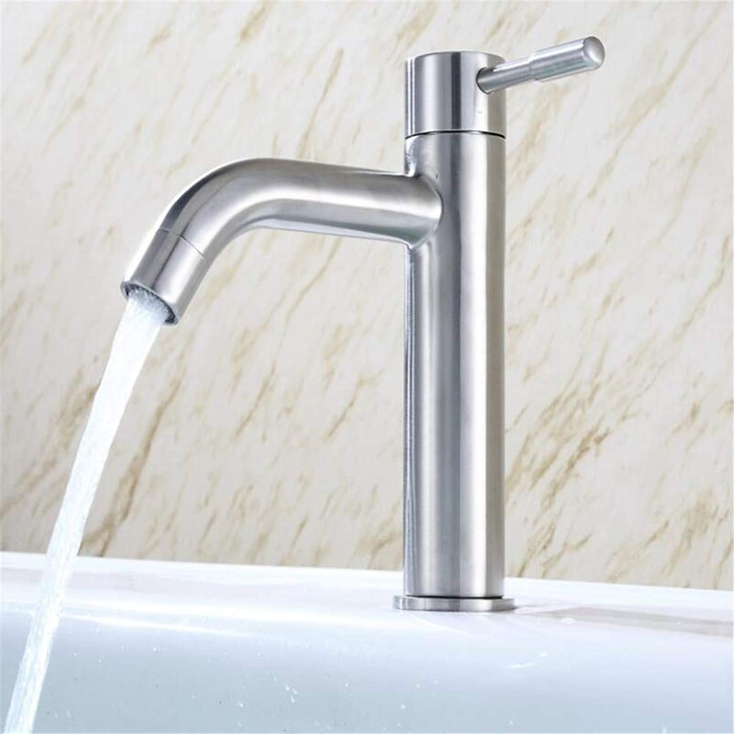 Basin Mixer Tap Stainless Steel Single Cold Basin Faucet Bathroom Toilet Basin Wash Basin Single Hole 304 Faucets.