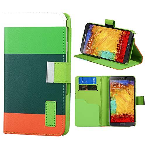 Roar Handyhülle für Sony Xperia Z3 Compact, Hülle Tasche Schutzhülle Klapphülle mit Magnetverschluss, Kartenfächer, Stand-Funktion - Hellgrün Grün Orange