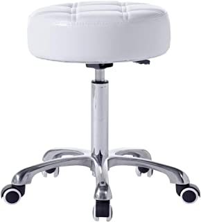 FRNIAMC Round Rolling Stool In White- Larger and Thicker Comfy Seat- Height Adjustable Swivel Modern Design for Medical Spa Massage Salon Make-up Table Exam and Home use (White)
